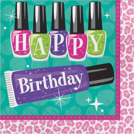 16 Serviettes en papierthème Beauty Partyhappy birthday Dimensions :33 cm x 33 cm / 18 cm x 18 cm