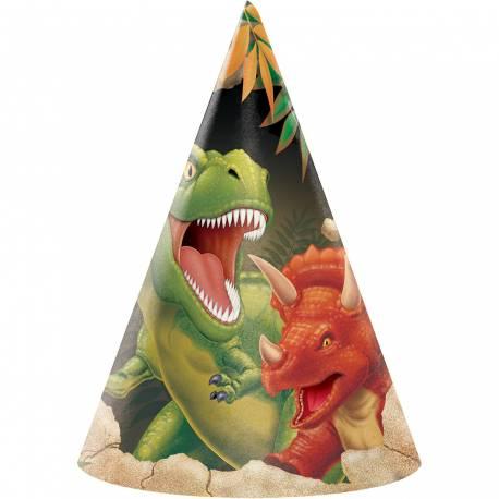 Chapeaux de fête dinosaure pour la deco anniversaire de votre enfant. Lot de 8 chapeaux en carton avec élastique hauteur : 17cm