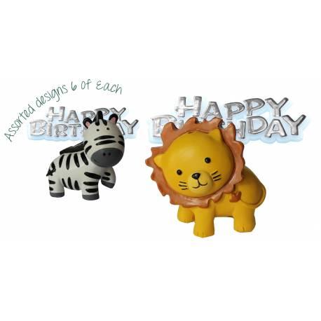 Figurine en plastique thème Zoo avec plaquette Happy Birthday, à poser sur votre gâteau d'anniversaire. Modèle aléatoireDimensions :...