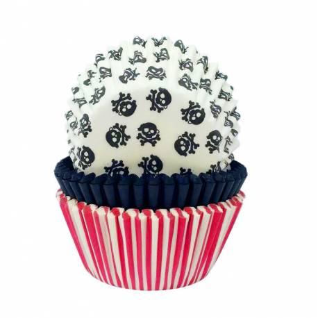 75 Caissettes à cupcakes pirate en papier prévu pour la cuissonA utiliser avec 1 moule à muffinsØ 5 cm
