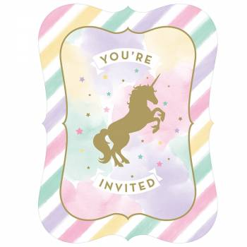 8 Cartes invitations avec enveloppes licorne d'or
