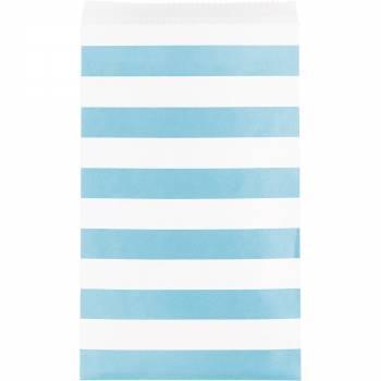 15 Sachets papier rayures bleu