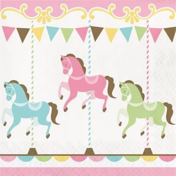 16 Serviettes carrousel