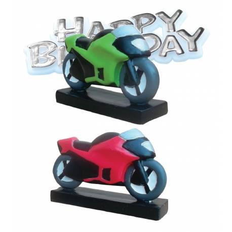 Set d'une figurine moto+ plaquette Happy Birthday en plastique pour la deco de gâteau anniversaire de votre enfant. Coloris...