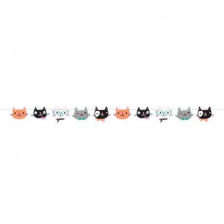 Guirlande thème chat ronrons en carton pour la deco anniversaire de votre fille. Dimensions : longueur 170cm