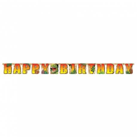 Banderole Happy Birthday thème jungle pour anniversaire enfant Longueur: 2.20 Mètres