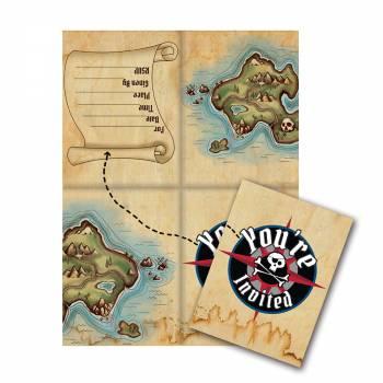 8 Invitations Pirate map