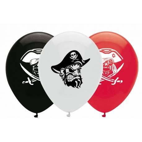 6 Ballons latex pirate pour la déco de salle d'anniversaire
