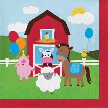 serviettes animaux de la ferme