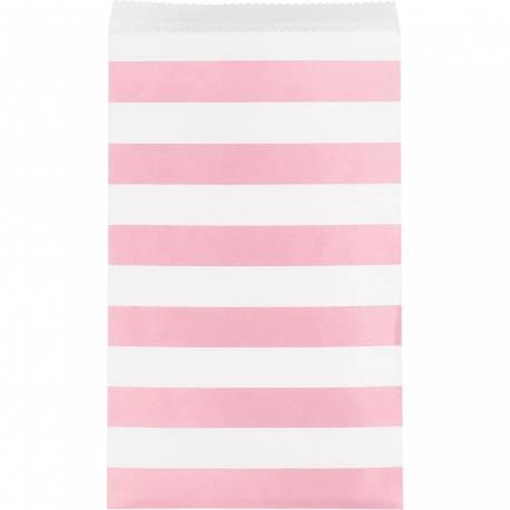 15 Sacs papier à rayures roseet blanche Dimensions : 19.7 cm x 11.4 cm