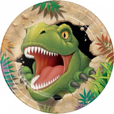 Assiettes dinosaure pour la déco anniversaire de votre enfant. Ø 23 cm Lot de 8 assiettes en carton