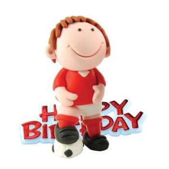 Figurine footballeur rouge pour gateau