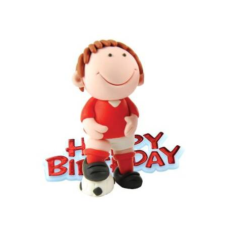 Footballeur rouge + plaque Happy birthday en plastique pour décorer vos gâteaux. Hauteur: 7.5 cm
