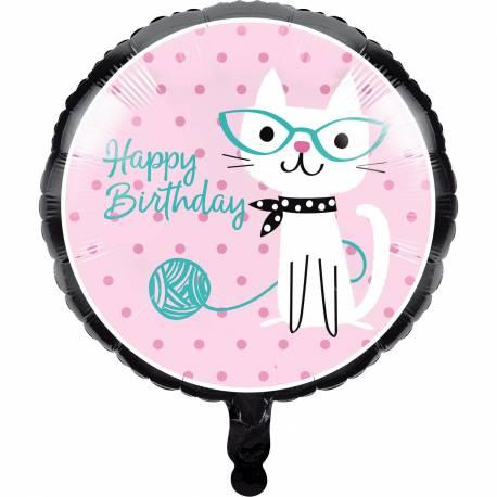 Ballon à gonfler avec ou sans hélium pour décoration anniversaire sur le thème chat ronrons Dimensions : Ø46cm