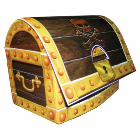 Centre de table en forme de trésor de Pirate pour la deco anniversaire de votre enfant. Décor en carton à monter soi même Dimensions...
