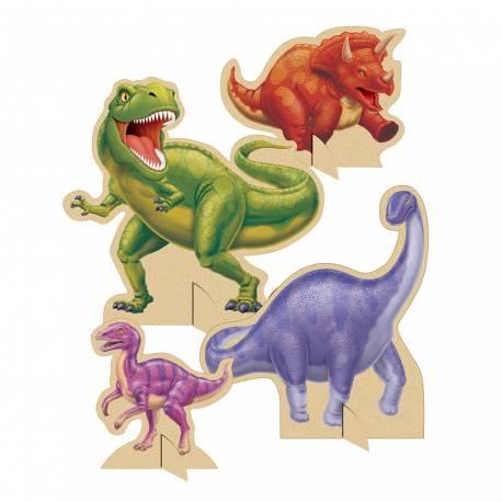 Centre de table dinosaure pour décorer la table anniversaire de votre enfant. Lot de 4 décors de table recto verso dinosaures Dimensions...