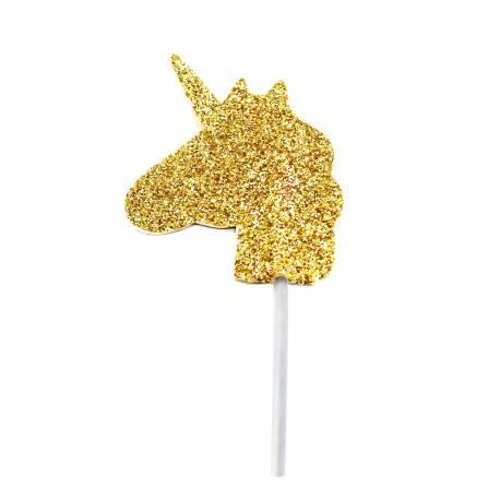 12 Pics cupcakes pailleté licorne or pour la décoration anniversaire de votre enfant. 12 pics déco pailleté or en forme de tête de...