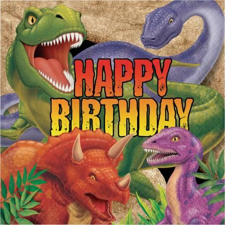 Serviettes dinosaure pour la déco anniversaire de votre enfant. dimensions :33 cm x 33 cm serviette ouverte