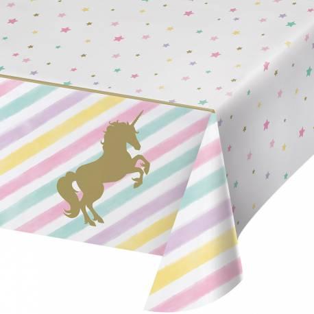 Nappe en plastique pour anniversaire thème licorne d'or Dimensions : 260cm x 140cm