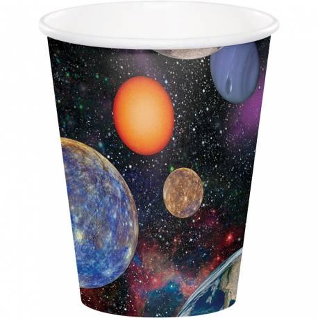 Lot de 8 gobelets sur le thème de l'espace pour la deco anniversaire de votre enfant. Contenance: 25 cl