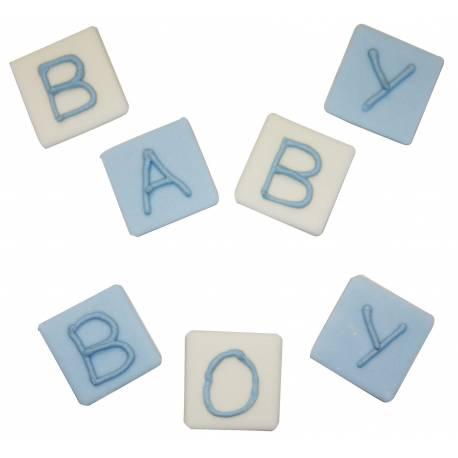 7 Jouets cube en sucre pour baptème garçon Dimensions : 2 cm