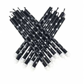 12 bougies noir etoiles argentees