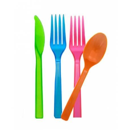 48 Couvertsneon assortis en couleur. Réagi à la lumière noire, la vaisselle devient fluorescente Idéal pour les soirées d'été au bord...
