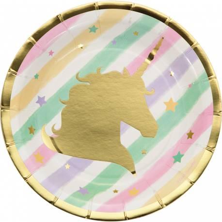 8 Assiettes dessert en carton pour anniversaire thème licorne d'or La licorne est en dorure Ø 18cm