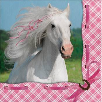 16 Serviettes Cheval girly
