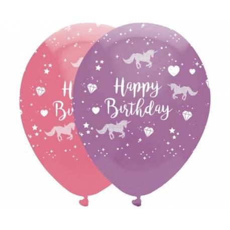 6 Ballon latex thème Licorne or pour la décoration anniversaire de votre enfant. Dimensions : Ø30cm