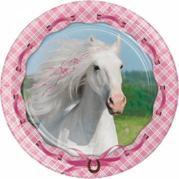 8 Assiettes Cheval girly