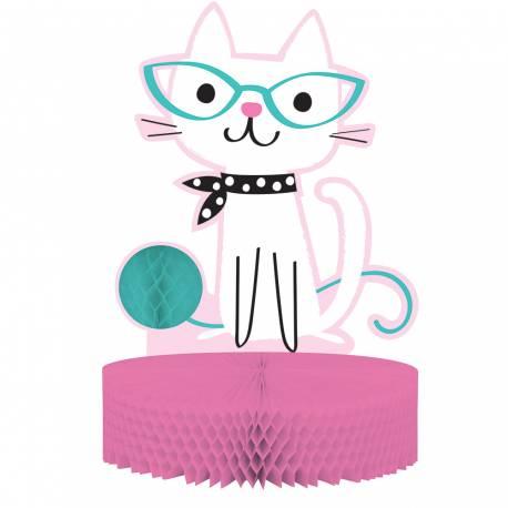 Centre de table pour décoration anniversaire sur le thème chat ronrons Dimensions : 30cm x 23cm