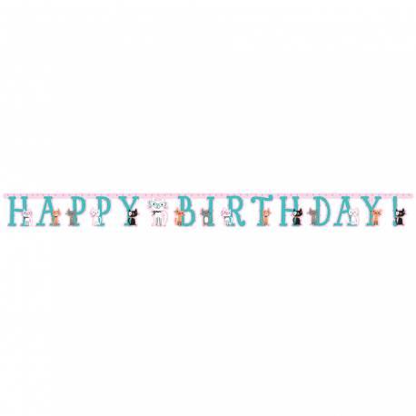 Banderole en carton pour anniversaire thème chat ronrons Dimensions : longueur 260cm