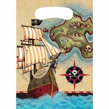 8 Sachets de fête Pirate map
