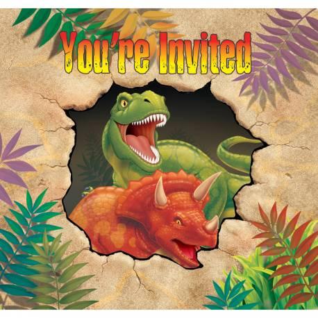 8 invitations dinosaure pour votre deco anniversaire enfant. Livrées avec enveloppes Dimensions: 10 cm x 14 cm