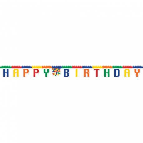 Banderole Happy Birthday en cartonthème Block party pourla décoration anniversaire des passionnés de Lego Longueur: 2.59 Mètres