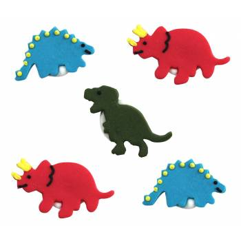 Lot 5 décors en sucre 2D Dinosaure