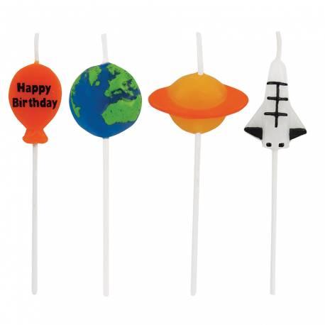 Bougies anniversaire espace vendues par 4, pour la deco de gâteau de votre anniversaire. Dimensions: 7.5 cm chacune