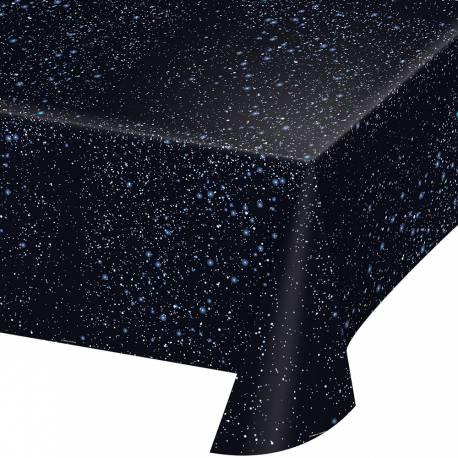 Nappe imprimée espace en plastique pour la deco de vos anniversaires. Dimensions: 137 x 274cm