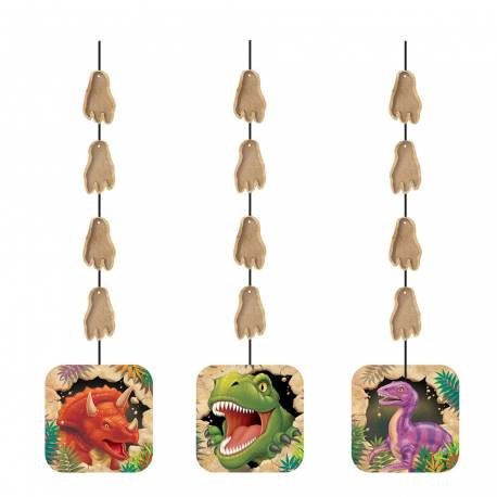 Lot de 3 guirlandes dinosaure pour la deco anniversaire de votre enfant Longueur: 91 cm chacune