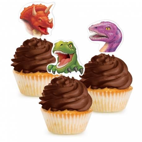 Pics deco dinosaure pour décorer vos cupcakes Lot de 12 pics. 7 cm.