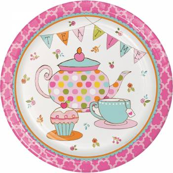 assiettes theme tea time