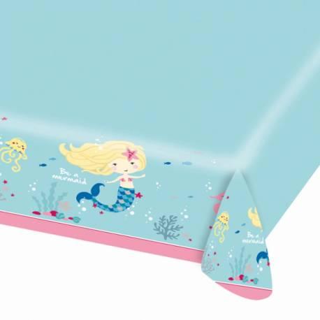 Nappe en papier Be a mermaid pour la deco de table d'un anniversaire sur le thème sirène Dimensions : 175cm x 115cm
