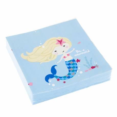 20 Serviettes en papier Be a mermaid pour la deco de table d'un anniversaire thème sirène Dimensions: 33cm x 33cm