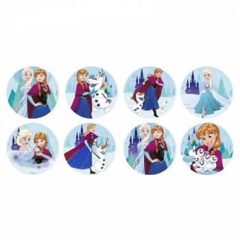 16 Mini disques en sucre La Reine des Neiges