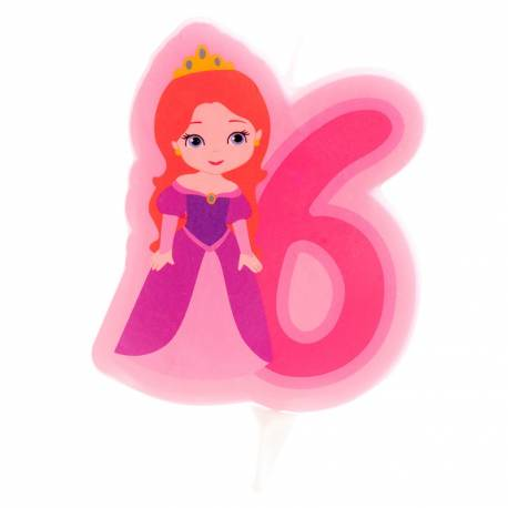 Bougie princesse Chiffre 6 pour la décoration anniversaire de votre enfant.Dimensions : 7 cm