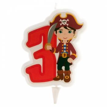 Bougie n°3 Pirate pour gateau