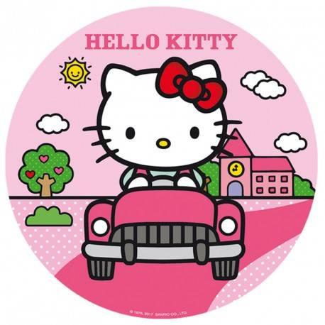 Disque en sucre Hello Kitty à poser sur votre gâteau d'anniversaire pour une déco rapide et superbe Diamètre 16 cm