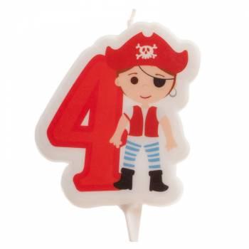 Bougie n°4 Pirate pour gateau