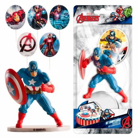 Kit de décoration en plastique pour décorer votre gâteau à l'effigie deCaptain America ! Contient: 3 pics deco Avengers + 1 figurine...